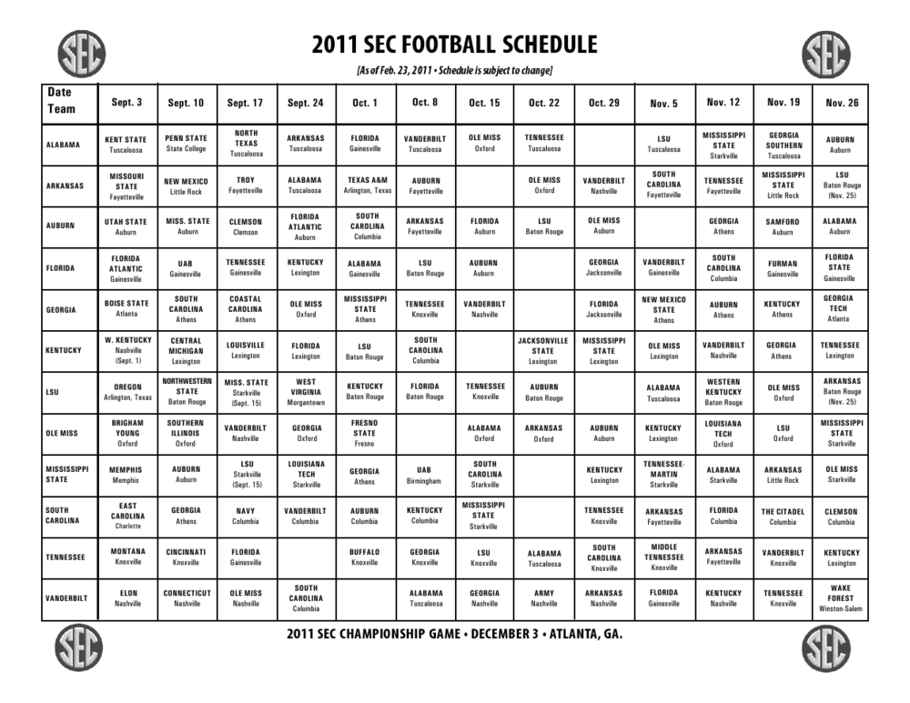 image relating to Atlanta Braves Schedule Printable named In depth SEC Soccer Timetable 2011 Unveiled For Just about every Workers