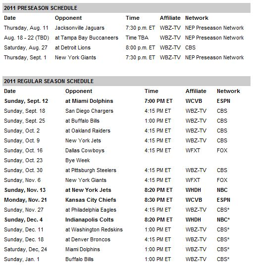 photo regarding New England Patriots Printable Schedule referred to as Fresh new England Patriots 2011 Routine: Pats Open up Up Versus