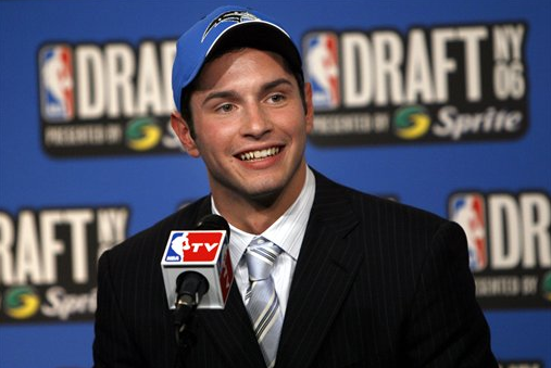 J.J. Redick addresses the media moments after the Orlando Magic select him with the 11th overall pick in the 2006 NBA draft.
