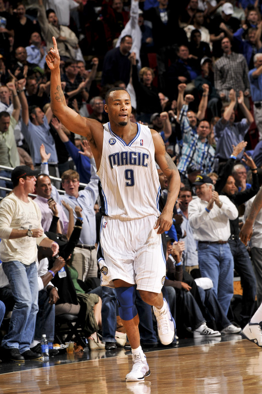 Orlando Magic forward Rashard Lewis holds up his pointer finger to celebrate making a three-point basket in Orlando's 99-88 win over the Cleveland Cavaliers on Thursday, January 29th, 2009