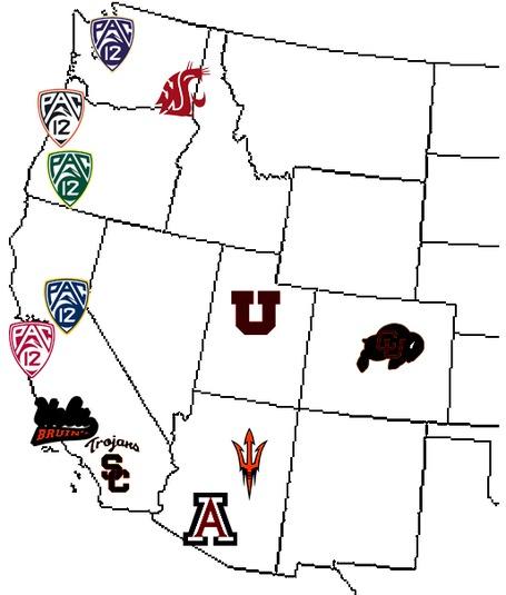 Pac-12 map - WSU