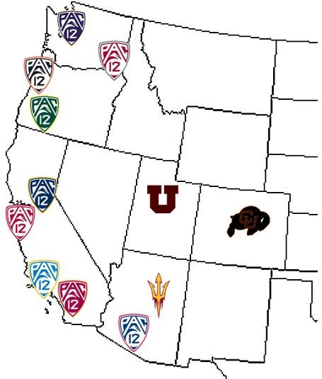 Pac-12 map - Arizona State