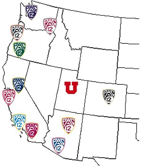 Pac-12 map - Utah