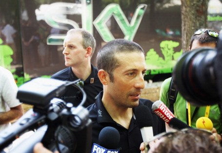 Juan Antonio Flecha of Team Sky, who was hit by a French TV car during stage 9, talks to the media on the rest day. Tour de France 2011. Photo: Bryn Lennon/Getty.