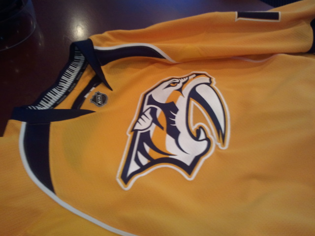 ... Nashville Predators jersey Heres a great view of the front of the jersey  with the new logo and the ... d35643de0
