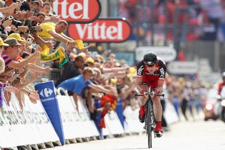 Cadel Evans, BMC Racing Team, Tour de France, Yellow Jersey, Grenoble time trial. Photo: Michael Steele/Getty.
