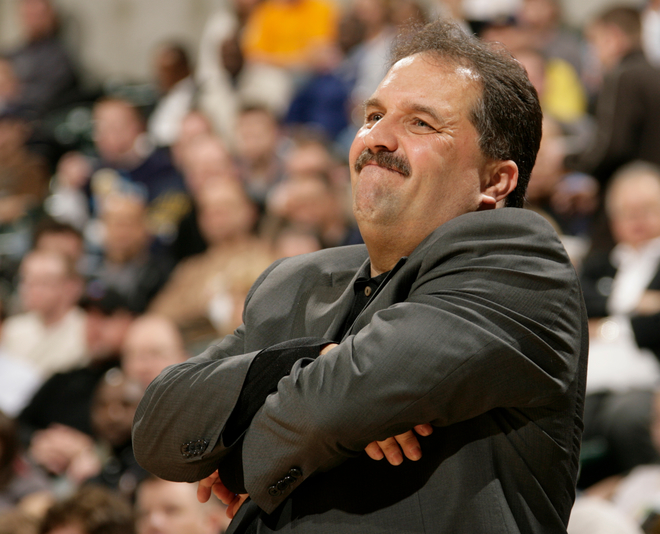 Stan Van Gundy, the head coach of the Orlando Magic, watches his team from the sidelines in an NBA basketball game against the Indiana Pacers on February 6th, 2009, at Conseco Fieldhouse in Indianapolis, Indiana