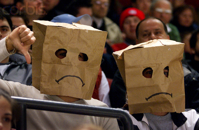 Image result for new york rangers fans bags over their heads