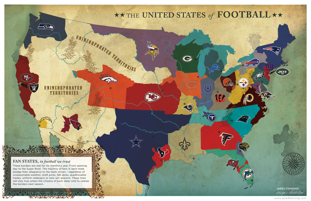 The United States Of Football An Nfl Fan Map Of Fan Loyalty - Us-map-nfl-teams