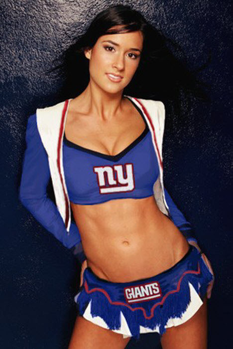 The Giants, of course, do not have cheerleaders. This is Romi Bean,