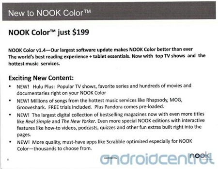 Nook Color to drop to $199, get Hulu Plus and streaming music services