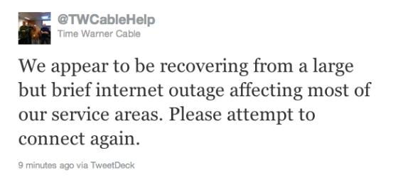 Kansas City Time Warner Outage