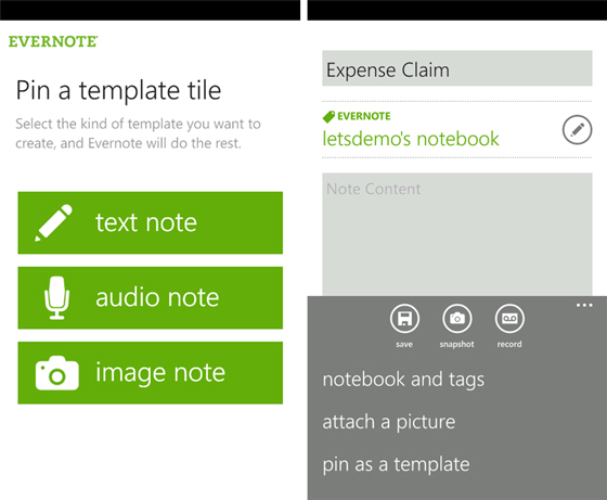 Evernote 2.1 for Windows Phone adds homescreen pinning, templates ...