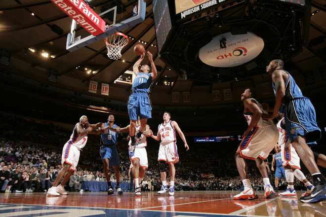 Courtney Lee of the Orlando Magic rises for a slam dunk against the New York Knicks in an NBA basketball game on Monday, March 23rd, 2009.