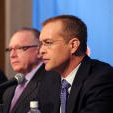 Paul Maurice speaks at yesterday's press conference while Jim Rutherford looks on.