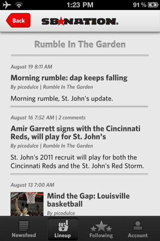 SB Nation iPhone app - Rumble in the Garden page