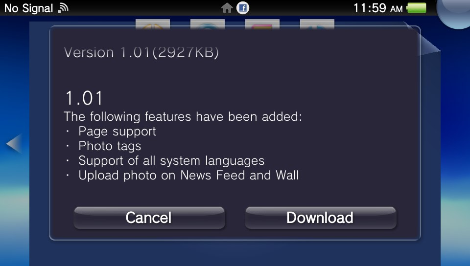 Facebook PS Vita app updated with photo uploads, more