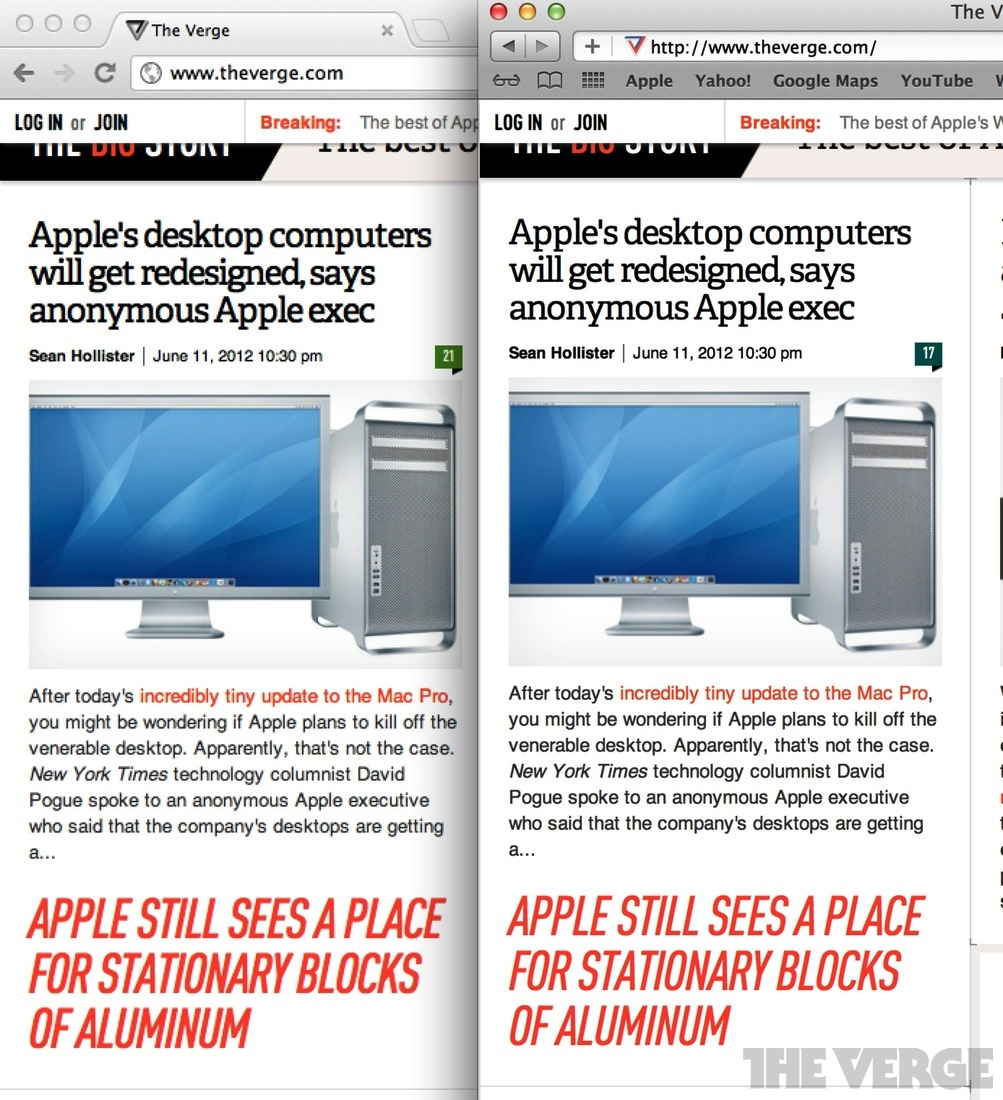 Chrome vs  Safari browsers on the MacBook Pro's Retina