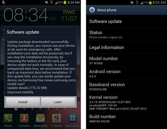 International Galaxy Note gets Android 4 0 4 update with picture-in