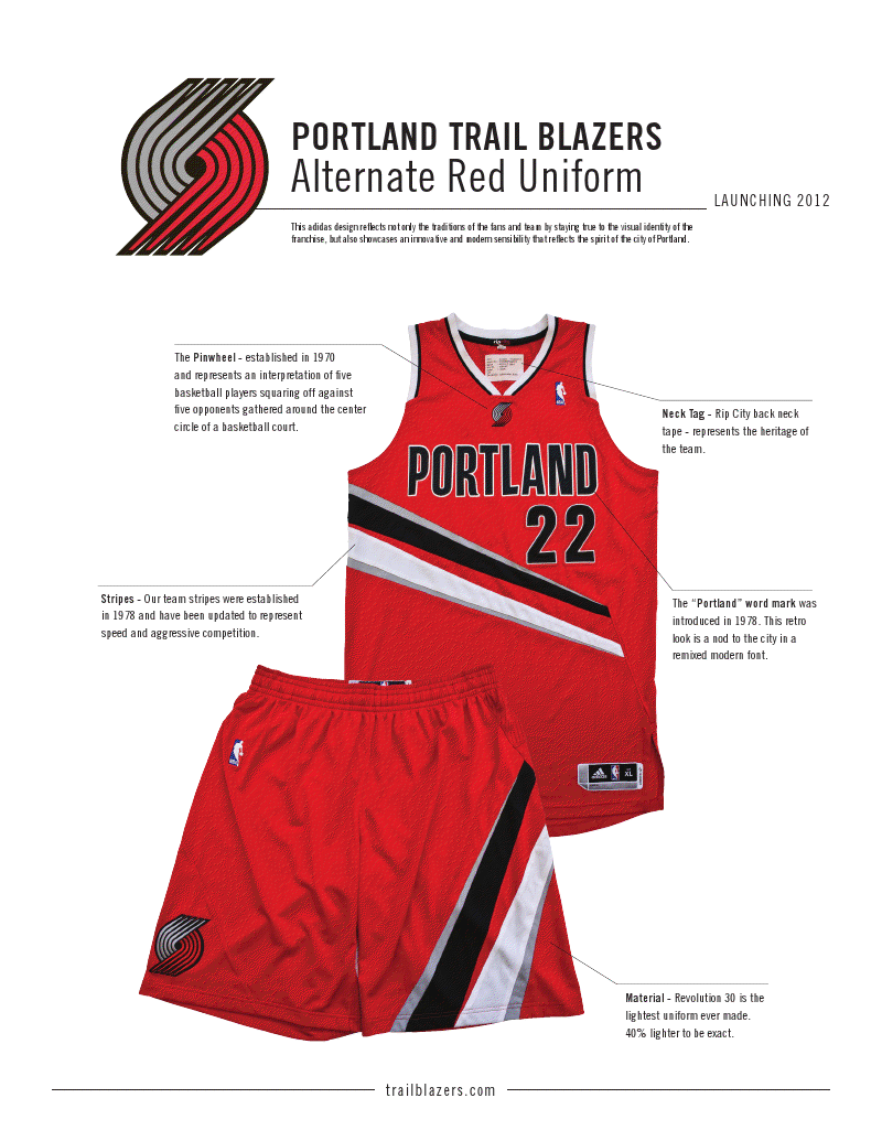 more photos 6f8d9 7624c Portland Trail Blazers Unveil New Red Alternate Jerseys ...