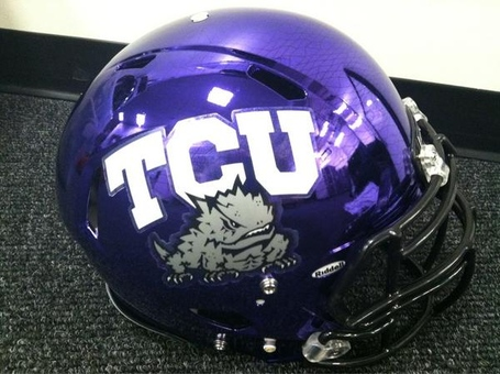 UPDATE: Shiny New Purple Chrome TCU Helmets! - Frogs O' War
