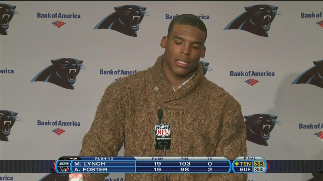 san francisco b79dd 3769e Cam Newton wore a stylish sweater to his press conference ...