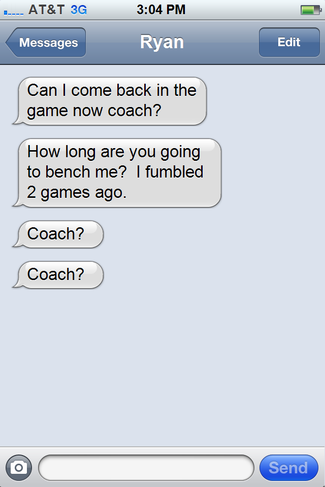 Fake) Text Messages of Norv Turner - Bolts From The Blue