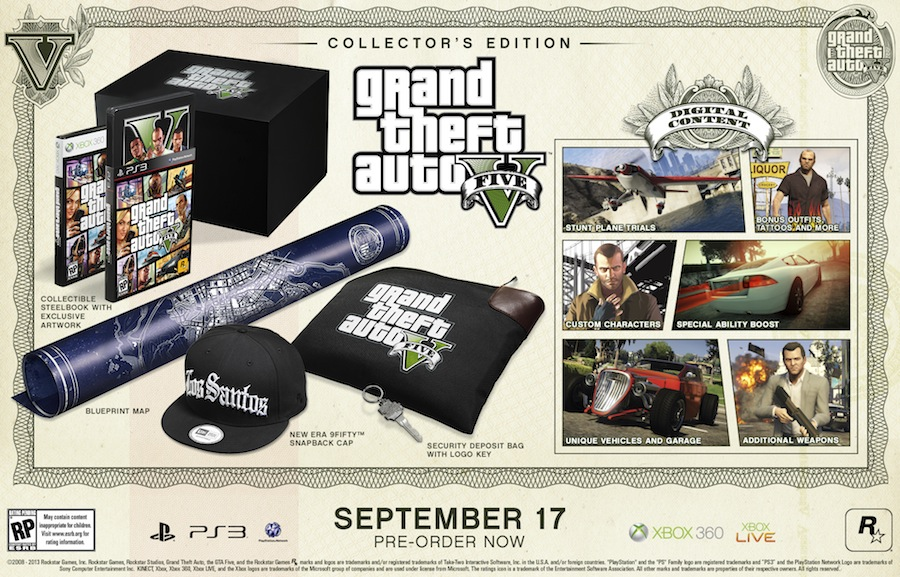 Grand Theft Auto 5 collector's editions include physical and