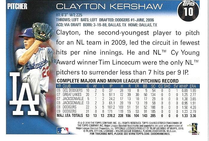 2010 Topps Series I Baseball Cards True Blue La