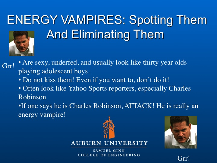 Gene Chizik Lectures On Energy Vampires Every Day Should