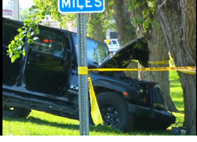 4eb2d932e8c PHOTO: Randy Savage Car Crash Scene Shows Jeep Damaged By Tree ...