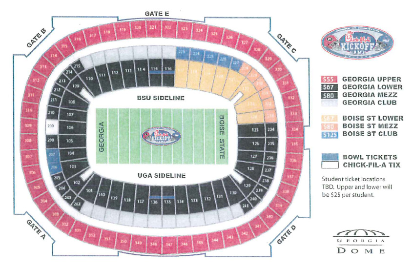 Uga Boise State Tickets Arrangement Puts Georgia Dome Low On Blue