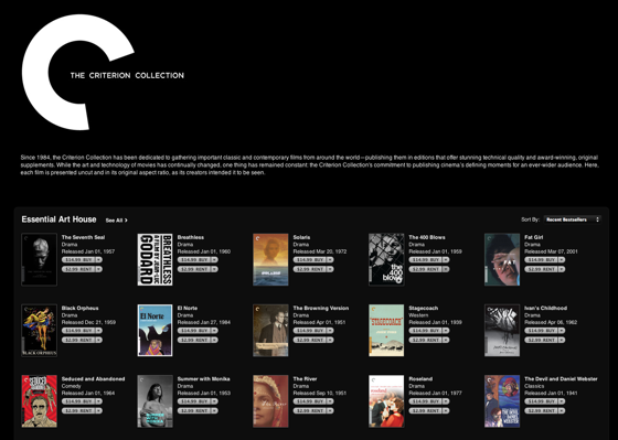 Criterion Collection films come to iTunes, but without special