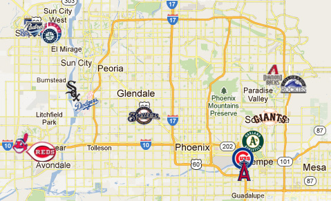 Spring Training Map Royals Spring Training 2012: Stadium, Cactus League Map And More  Spring Training Map