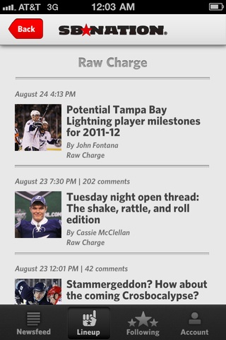Launch of the SB Nation iPhone App - Raw Charge